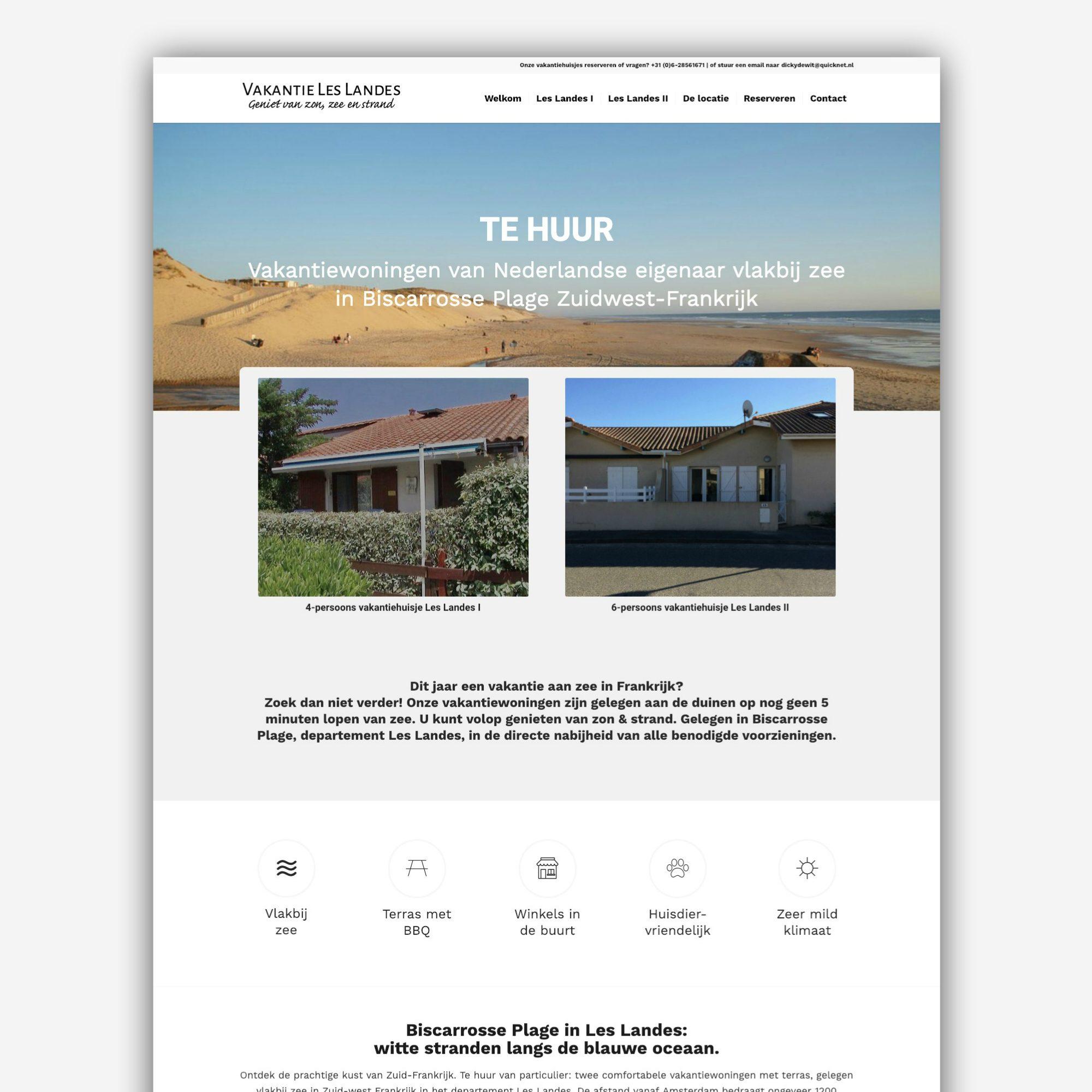 Website Vakantie Les Landes